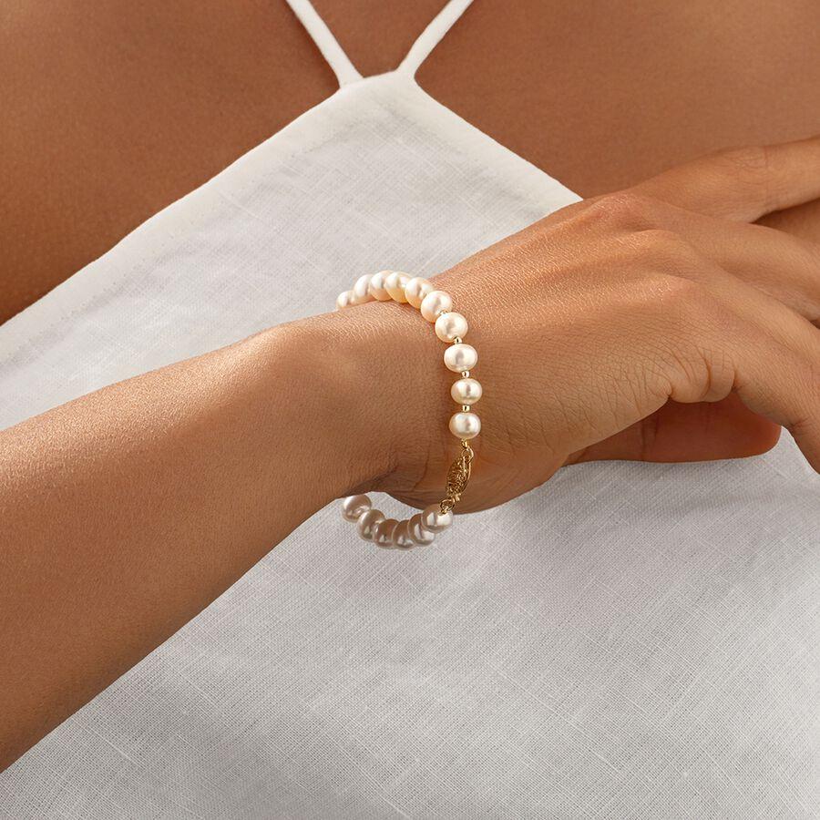 Pearl bracelet in 10kt Yellow Gold