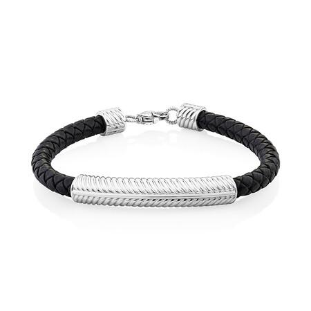Textured Bracelet in Black Leather & Sterling Silver
