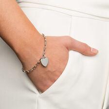 """19cm (7.5"""") Diamond Set Rolo Bracelet in Sterling Silver"""