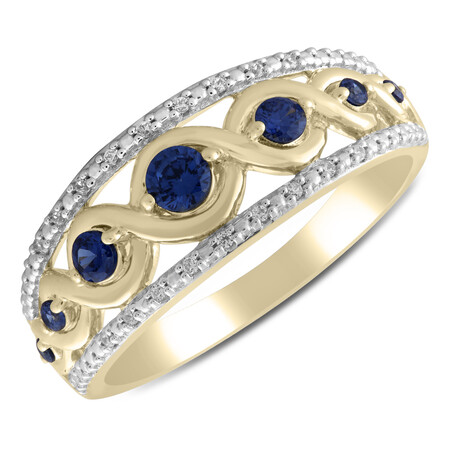 Twist Ring with Created Sapphire & Diamond in 10kt Yellow Gold