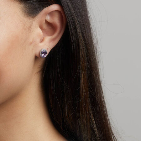 Earrings with Amethyst & 0.15 Carat TW of Diamonds in 10kt White Gold