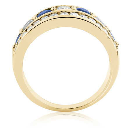 Ring with Natural Sapphire & 1 Carat TW of Diamonds in 14kt Yellow Gold