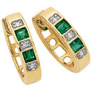 Hoop Earrings with Created Emerald & Diamonds in 10kt Yellow & White Gold