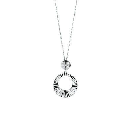 Diamond Cut Circle Pendant in Sterling Silver