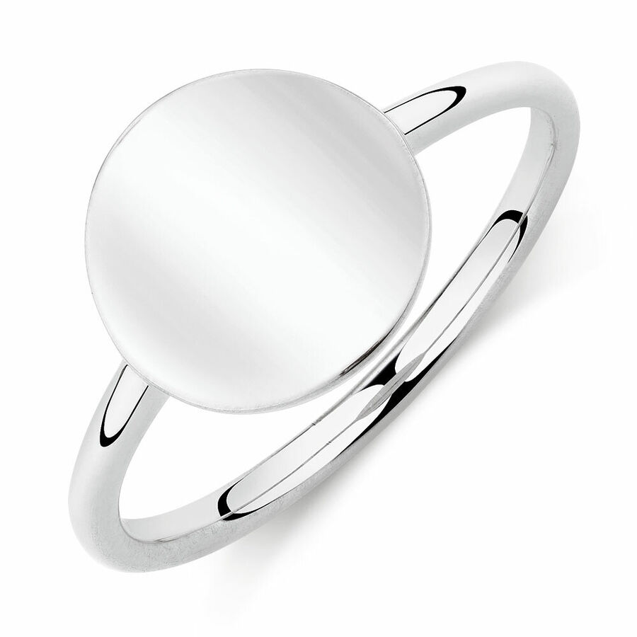 Plain Mini Signet Ring In Sterling Silver