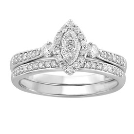 Bridal Set with 0.36 Carat TW of Diamonds in 10kt White Gold