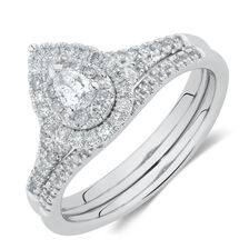Evermore Bridal Set with 0.60 Carat TW of Diamonds in 10kt White Gold