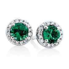 Halo Stud Earrings with Created Emerald & Diamonds in 10kt White Gold