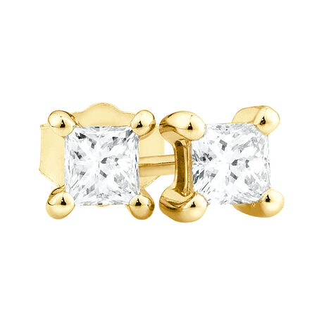 Online Exclusive - Stud Earrings with Diamonds in 10kt Yellow Gold