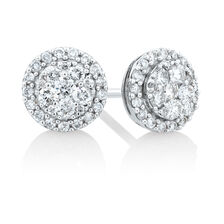 Cluster Stud Earrings with 0.50 Carat TW of Diamonds in 10kt White Gold