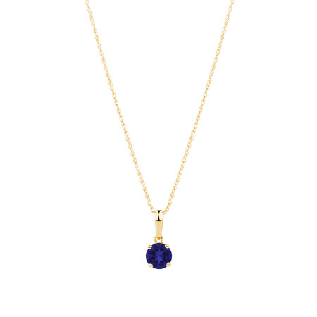 Pendant with Created Blue Sapphire in 10kt Yellow Gold