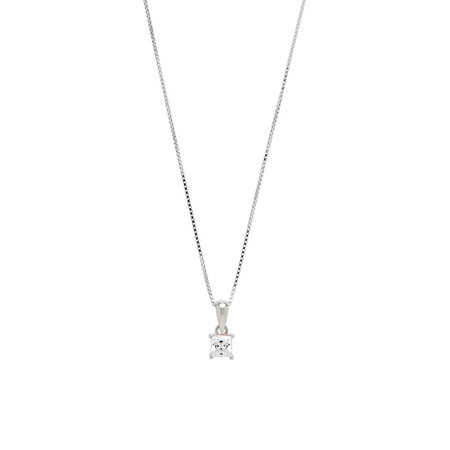 Square Pendant with White Cubic Zirconia in Sterling Silver
