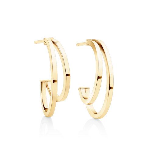 Small Half Hoop Earrings In 10kt Yellow Gold