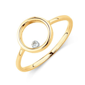 Floating Diamond Circle Ring with Diamonds in 10kt Yellow Gold