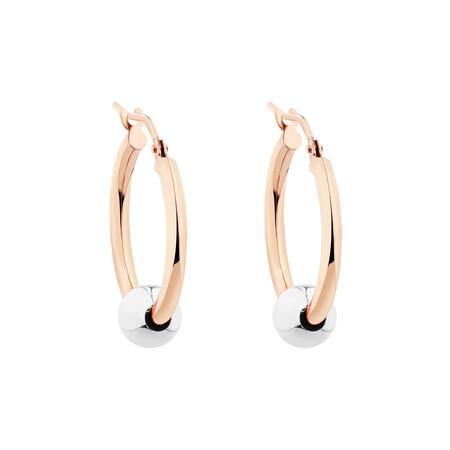 Ball Hoop Earrings in 10kt Rose & White Gold