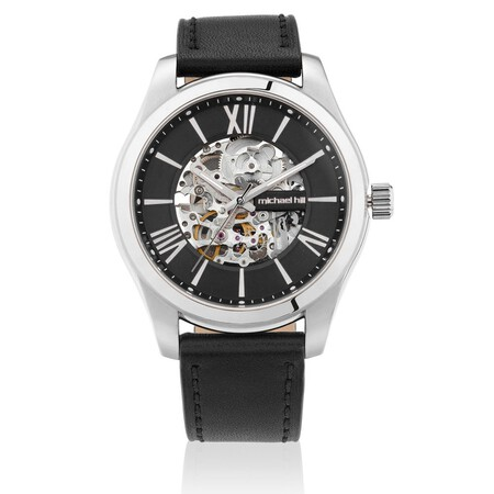 Michael Hill Automatic Skeleton Watch In Stainless Steel And Leather
