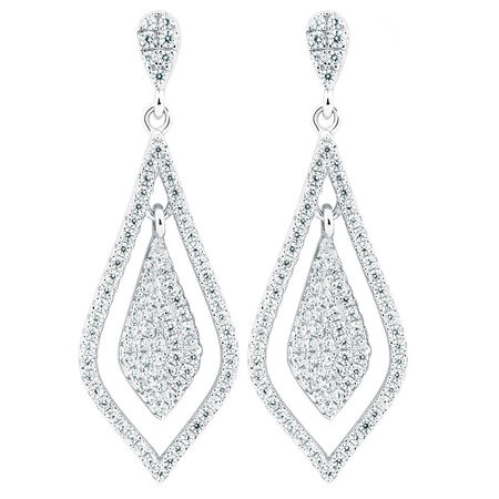 Teardrop Earrings with Cubic Zirconia in Sterling Silver