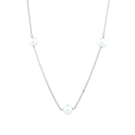 """100cm (40"""") Necklace with Cultured Freshwater Pearls in Sterling Silver"""