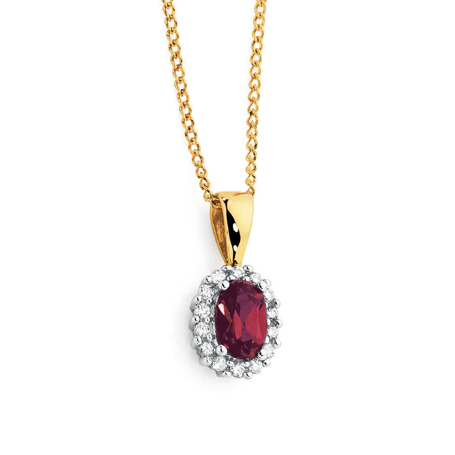 Pendant with Created Ruby & Diamonds in 10kt Yellow & White Gold