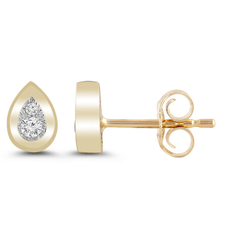 Pear Cluster Stud Earrings with Diamonds in 10kt Yellow Gold
