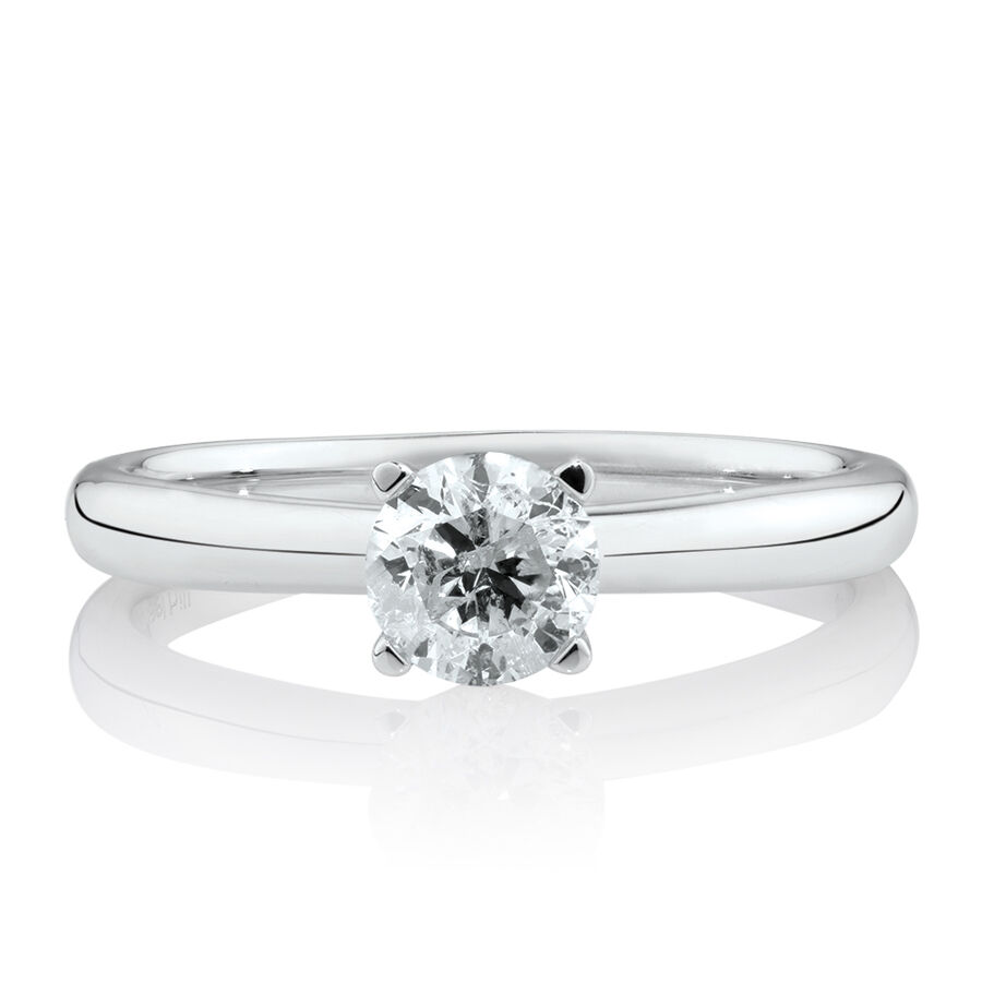 Solitaire Engagement Ring with 3/4 Carat TW of Diamonds in 14kt White Gold