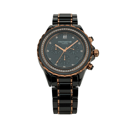 Chronograph Watch with 1/2 Carat TW of Diamonds in Black Ceramic & Rose Tone Stainless Steel