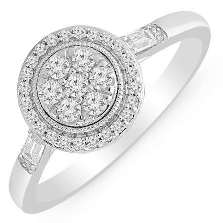 Cluster Ring with 0.35 Carat TW of Diamonds in 10kt White Gold