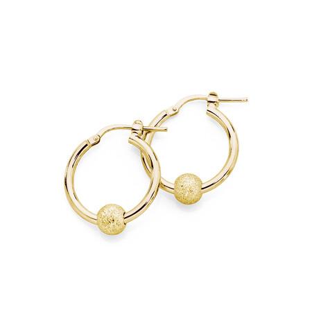 Stardust Ball Hoop Earrings in 10kt Yellow Gold