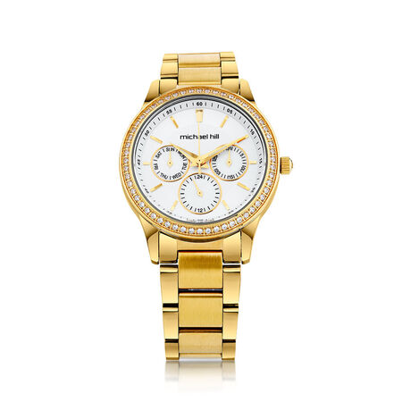 Ladies Multi-Function Watch with Cubic Zirconias & Mother of Pearl in Gold Tone Stainless Steel