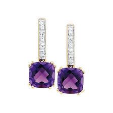Drop Earrings with Amethyst & Diamonds in 10kt Yellow & White Gold