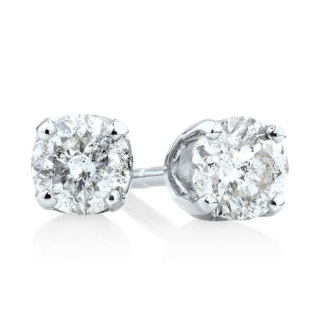 Stud Earrings with 3/8 Carat TW of Diamonds in 10kt White Gold