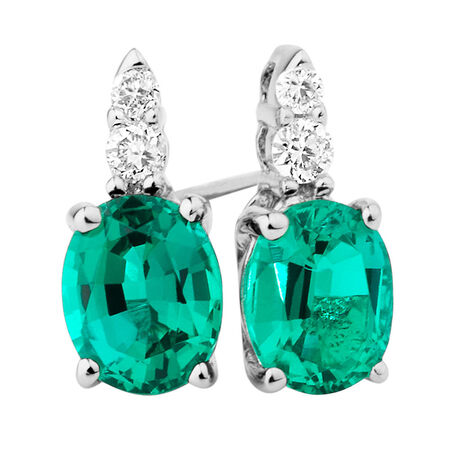 Stud Earrings with Created Emerald & Diamonds in 10kt White Gold