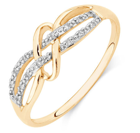 Weave Ring with Diamonds in 10kt Yellow Gold