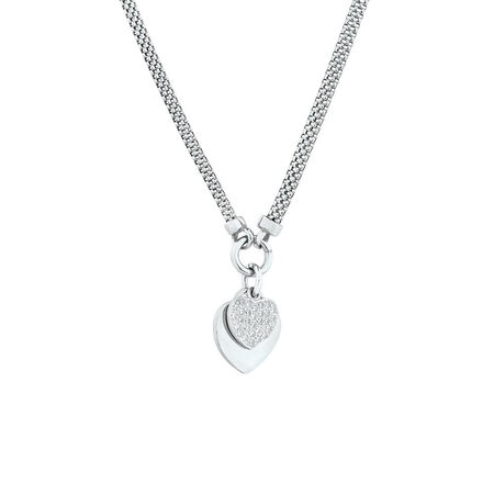 "45cm (18"") Double Heart Necklace in Sterling Silver"