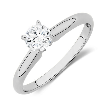 Solitaire Engagement Ring with a 1/2 Carat Diamond in 14kt White Gold