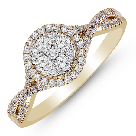 Cluster Ring with 1/2 Carat TW of Diamonds in 10kt Yellow Gold