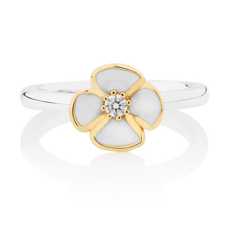 Enamel, 10kt Yellow Gold & Sterling Silver Stack Ring