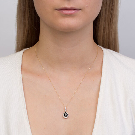 Pendant with Sapphire & 0.16 Carat TW of Diamonds in 10kt Yellow & White Gold