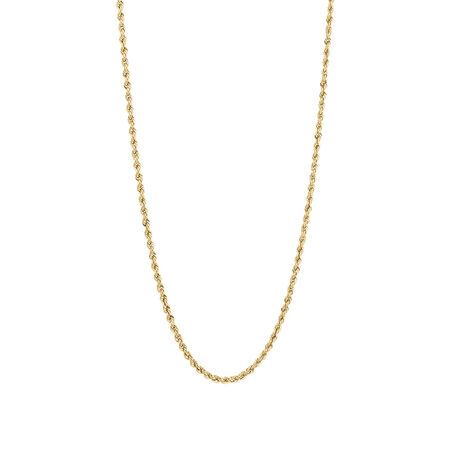 Hollow Rope Chain in 10kt Yellow Gold