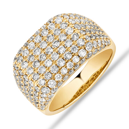 3 Carat Gents Ring with 3 Carat TW of Diamonds In 10kt Yellow Gold