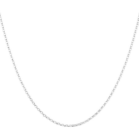 """40cm (16"""") Hollow Rolo Chain in 10kt White Gold"""