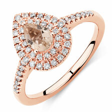Sir Michael Hill Designer Fashion Ring with Morganite & 0.25 Carat TW of Diamonds in 10kt Rose Gold