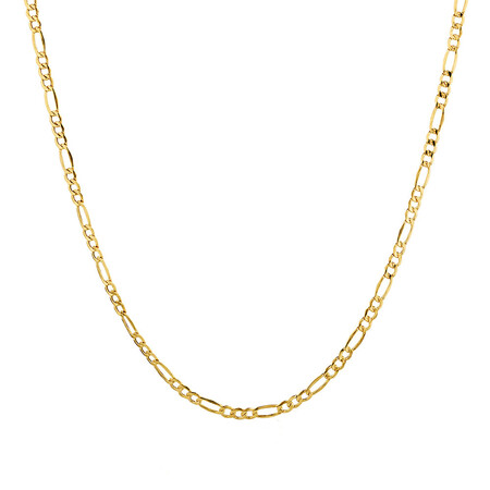 "55cm (22"") Hollow Figaro Chain in 10kt Yellow Gold"