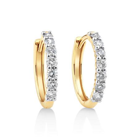 Huggie Earrings with 0.50kt TW Diamonds in 10kt Yellow Gold