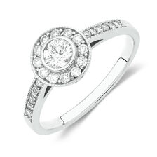 Online Exclusive - Halo Ring with 1/2 Carat TW of Diamonds in 18kt White Gold