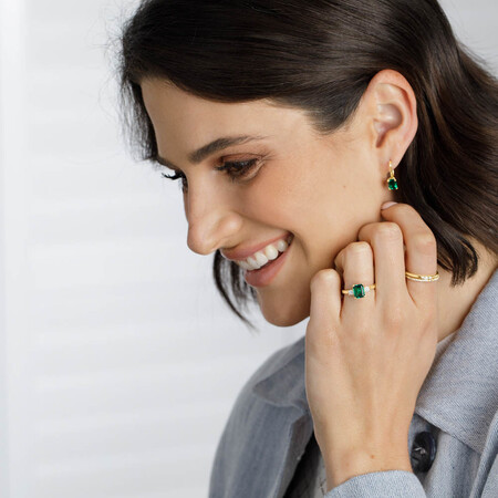 Drop Earrings With Created Emerald In 10kt Yellow Gold