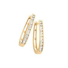 Huggie Earrings with 1 Carat TW of Diamonds in 10kt Yellow Gold