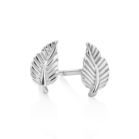 Leaf Stud Earrings in Sterling Silver