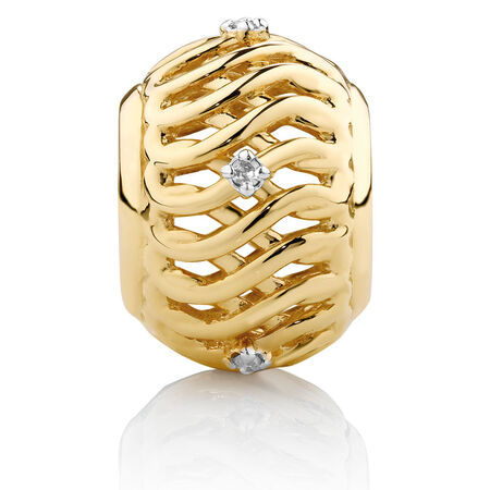 Diamond Set Infinity Pattern Charm in 10kt Yellow Gold