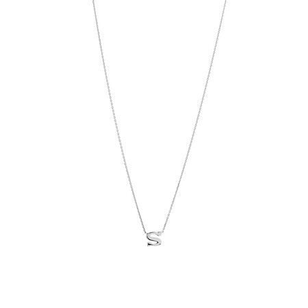 'S' Initial Necklace in Sterling Silver
